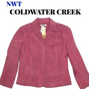 NWT Coldwater Creek Pink Suede Blazer, Size Large